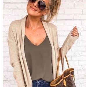 LEITH Tan Open Knit Maxi Cardigan with Pockets